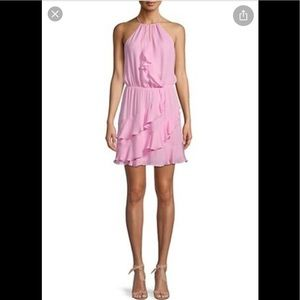 🌸 PARKER pink silk & viscose halter mini dress